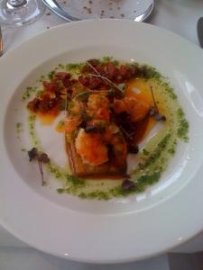 Garlic roasted prawns with chorizo on pork belly